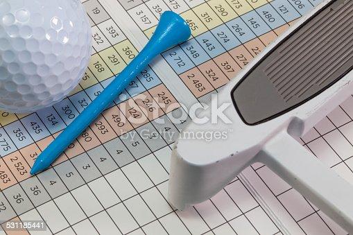 istock Golf  equipments  lying  on a score card 531185441