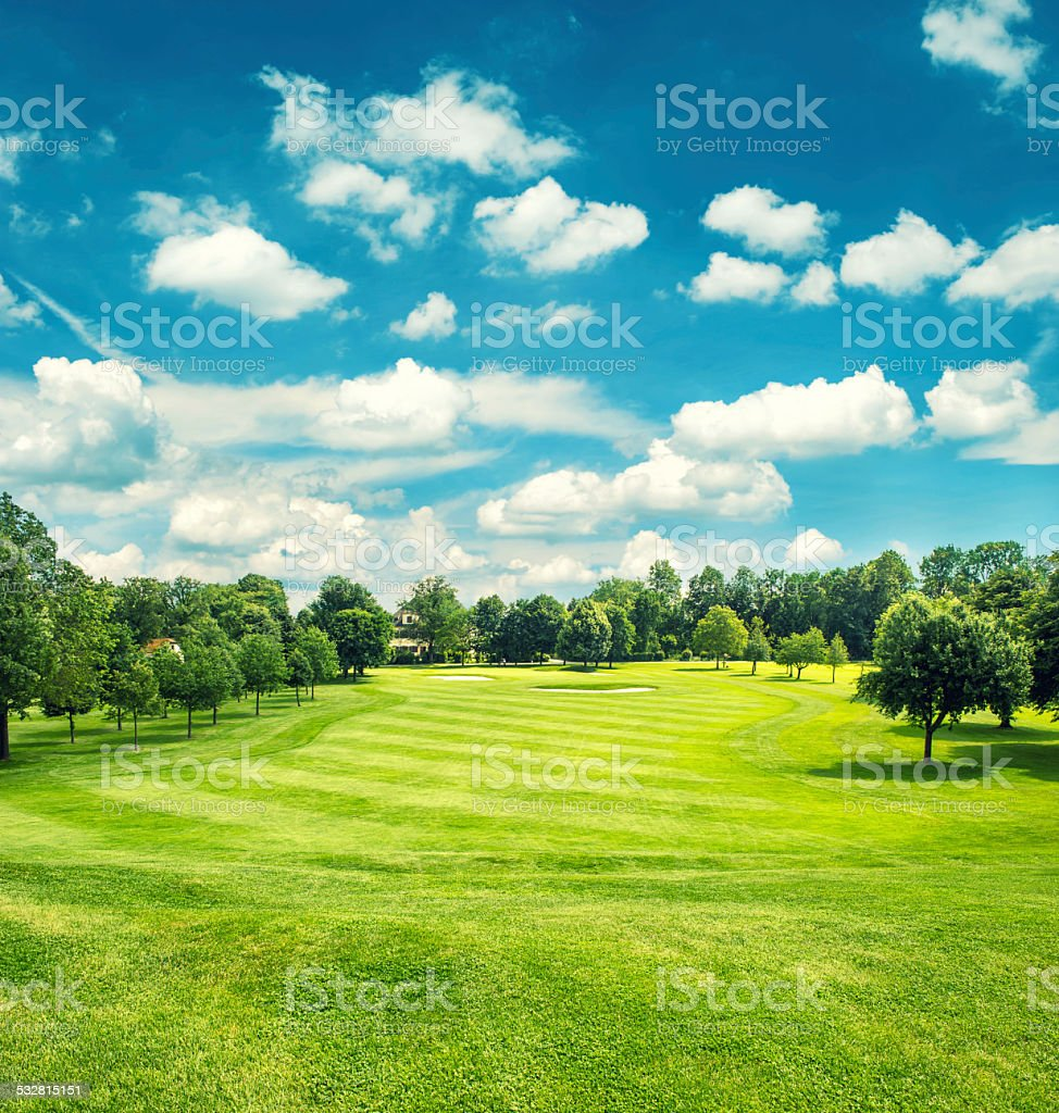 Golf field and blue cloudy sky. Beautiful landscape with green grass....