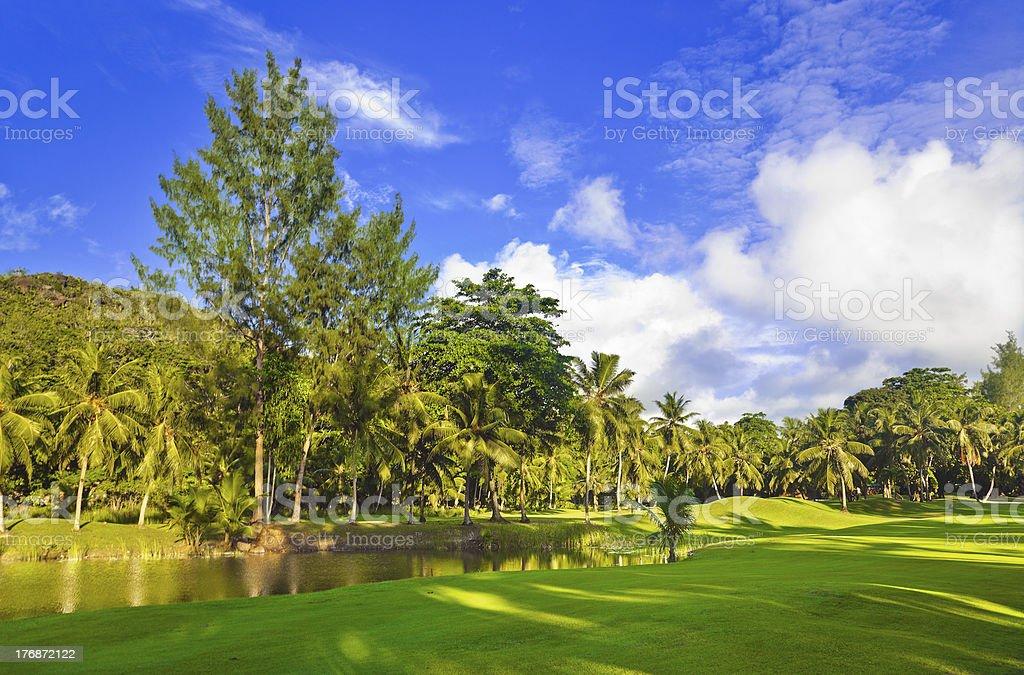Golf field at Seychelles stock photo
