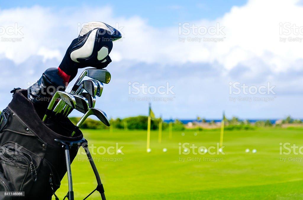 Golf field background stock photo