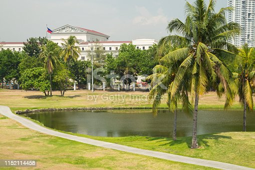 Golf field with pond near Intramuros, Manila, Philippines