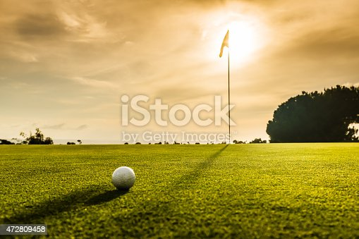 A golf flag and ball at sunset.  http://blog.michaelsvoboda.com/GolfBanner.jpg