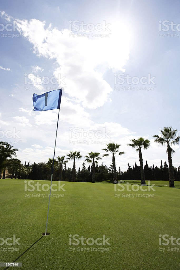 Golf Flag in the Breeze 4 royalty-free stock photo