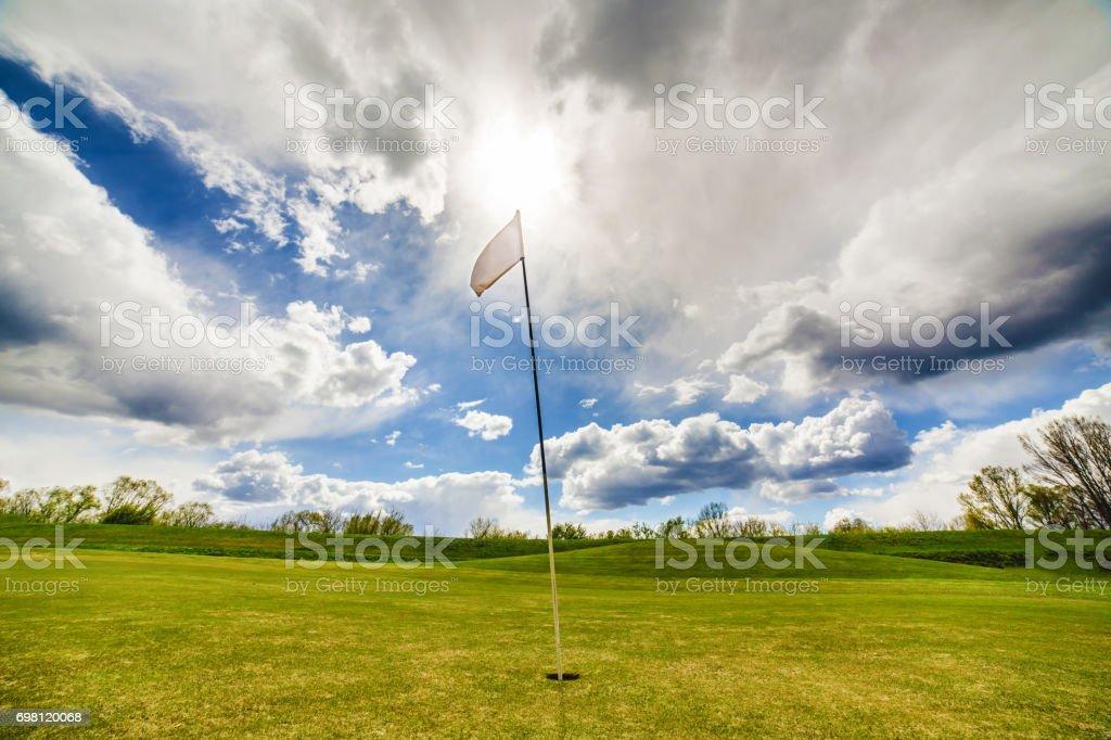 Golf Flag Waving stock photo