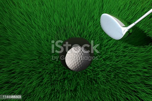 Single golf ball in the hole.