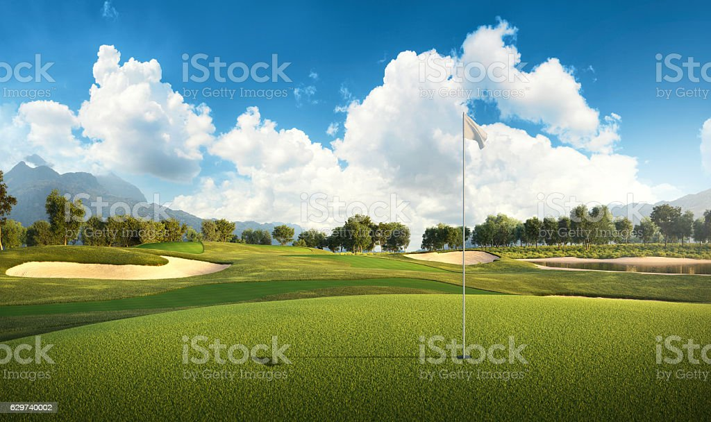 Golf: Golf course stock photo