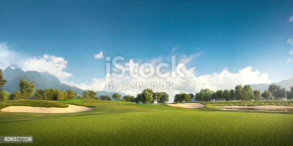 View of the green rolling landscape and bunkers or sand traps at Golf course. The golf field is made in 3D.