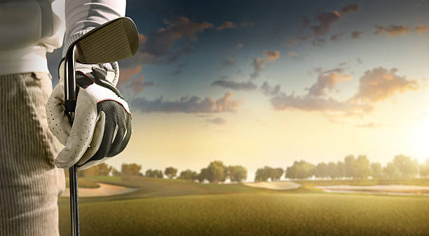 golf: golfer staying on a golf course - golf stock photos and pictures