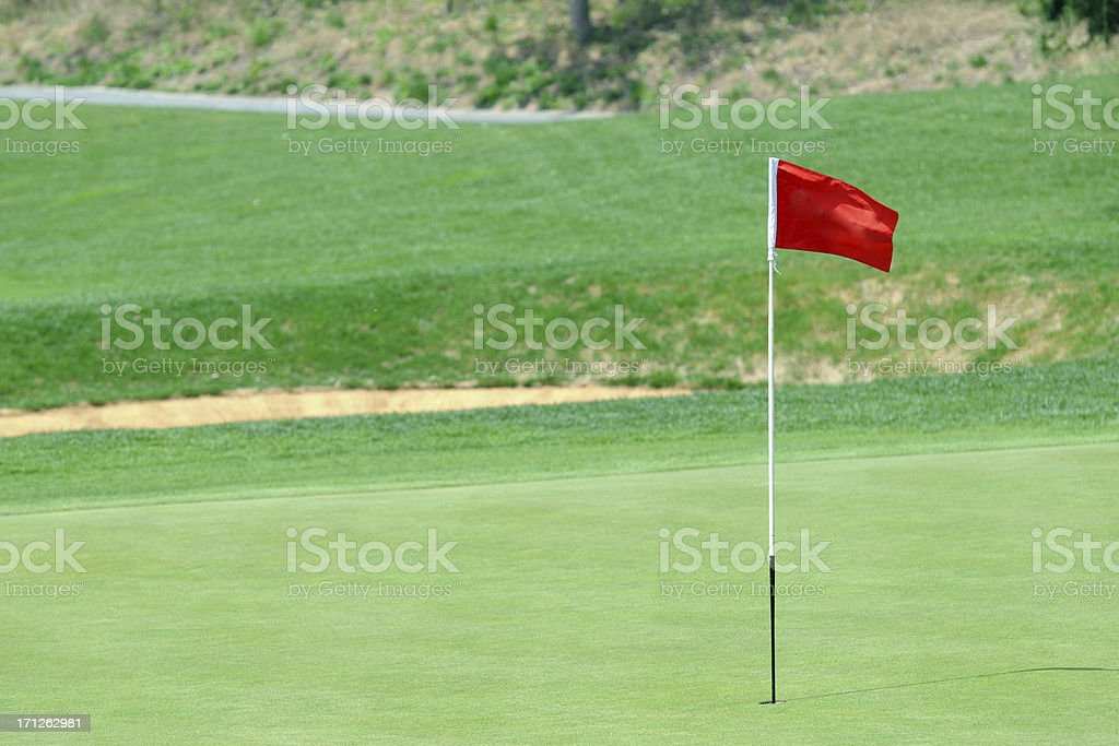 Golf Green and Flag - XLarge royalty-free stock photo