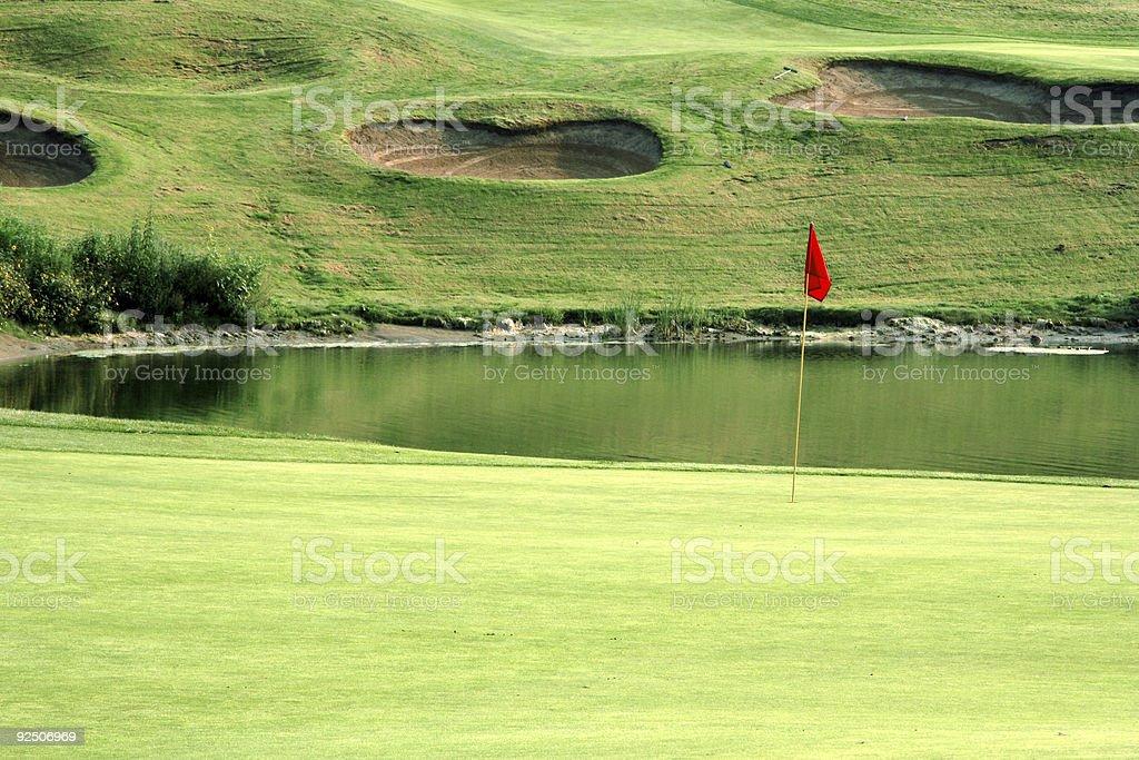 Golf- Green and Lake royalty-free stock photo
