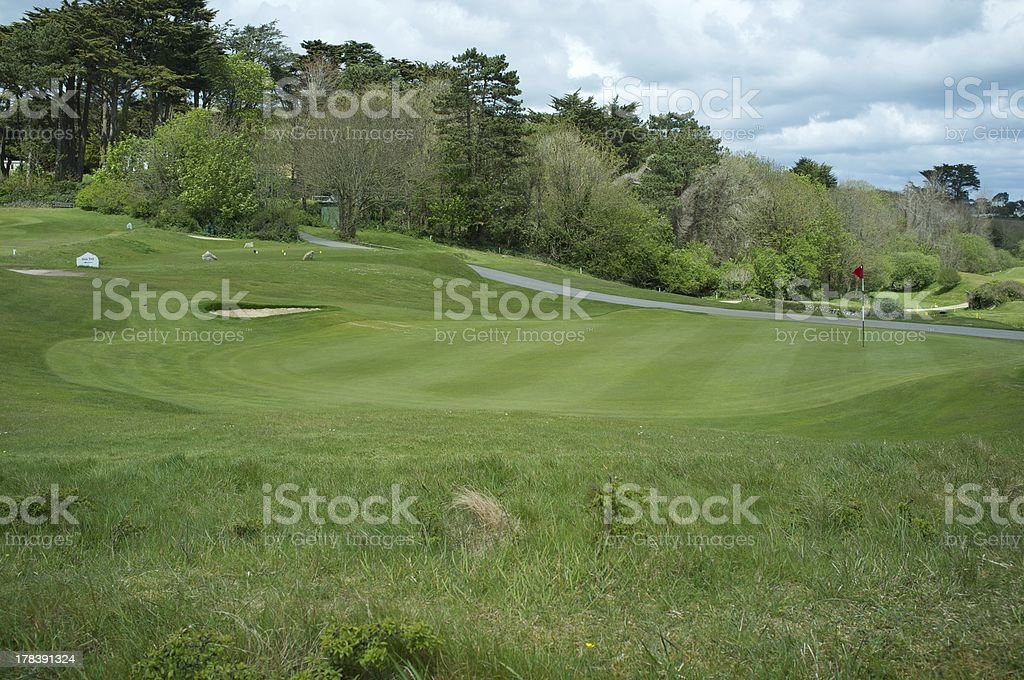 Golf green at St Enodoc stock photo