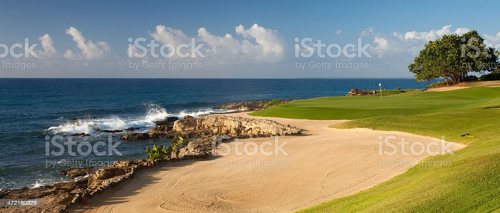 Golf Green By The Ocean stock photo