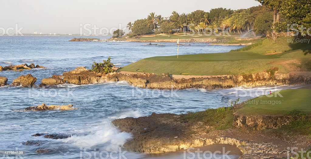 Golf Green By The Ocean royalty-free stock photo