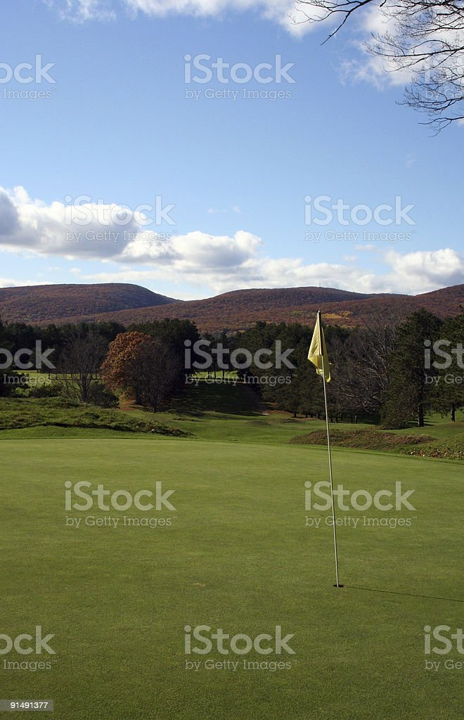 Golf green during autumn in the mountains
