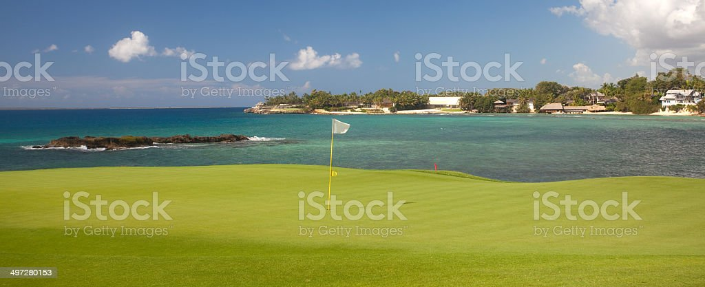 Golf Green in the Carribean stock photo