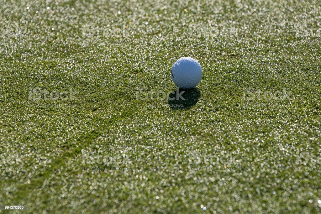 Early morning on the golf green, still covered in dew and sparkles...