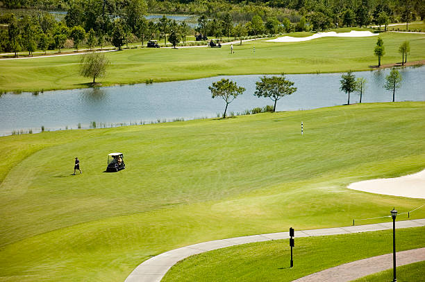 Golf Green with Traps and Carts stock photo