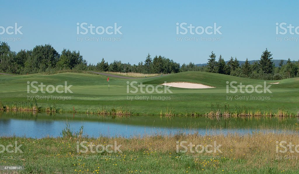 Golf  Hole and water Royal Oaks, Moncton, New Brunswick, Canada royalty-free stock photo