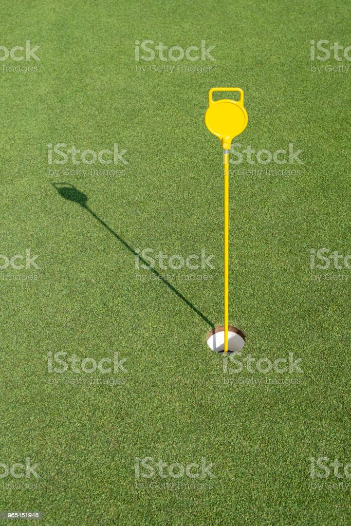 Golf hole in the green field zbiór zdjęć royalty-free