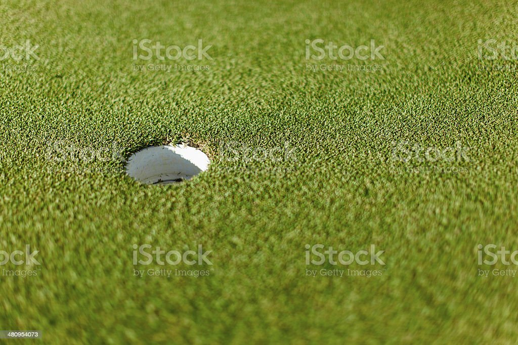 Golf hole on putting green in Langebaan. Western Cape, South Africa