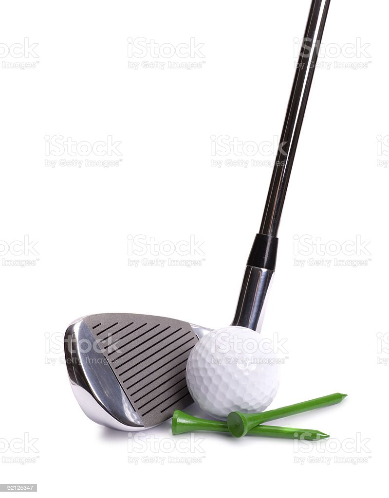 Golf Iron, Ball and Tees royalty-free stock photo