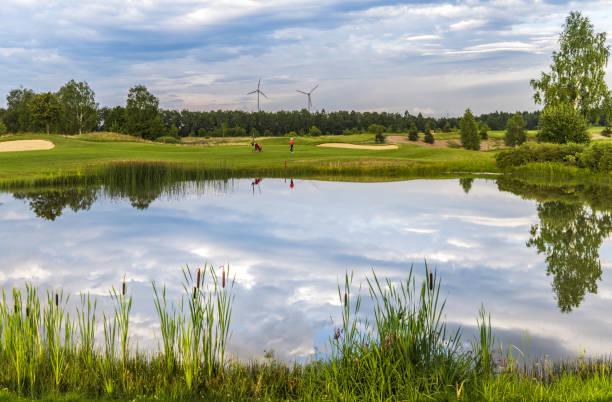 golf lake at golf course stock photo