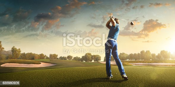 Man playing Golf on beautiful Golf course. The course is made in 3D.