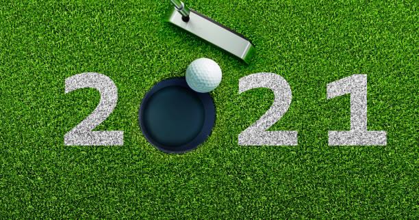 Golf Motiv 2021 Text on Grass Background stock photo