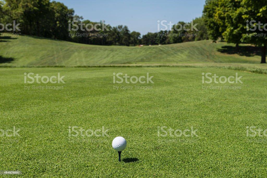 Golf on Tee and Fairway. stock photo