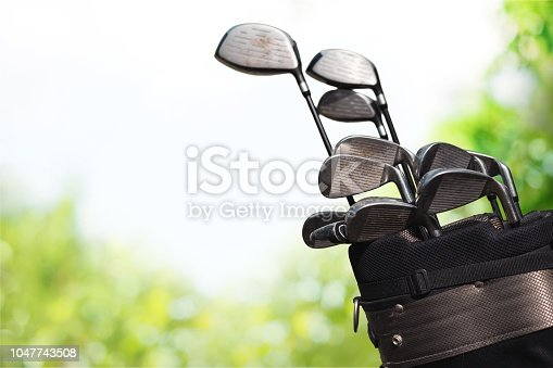 Golf clubs drivers over  background.