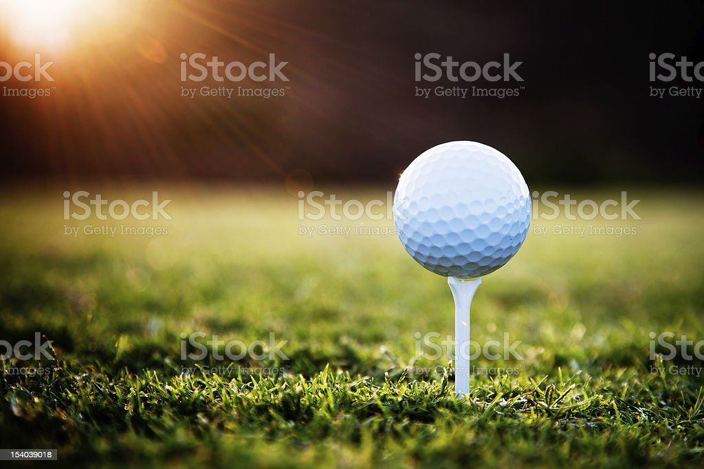Golf Close up of golf ball on tee Beauty In Nature Stock Photo