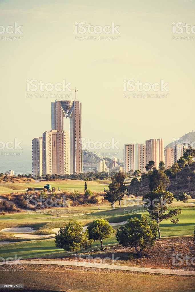 Golf place with nice green at sunrise in Benidorm, Spain stock photo