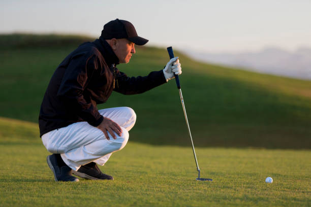 Golf player looking to hole for deciding on the shot - Links Golf stock photo