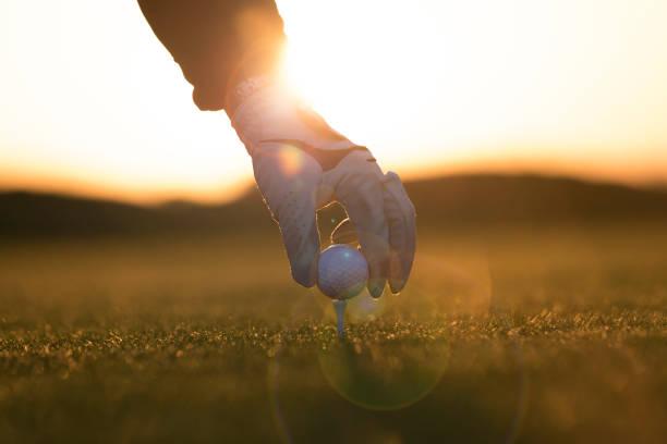 Golf player preparing for shoting - Sunset Time -  Links Golf stock photo