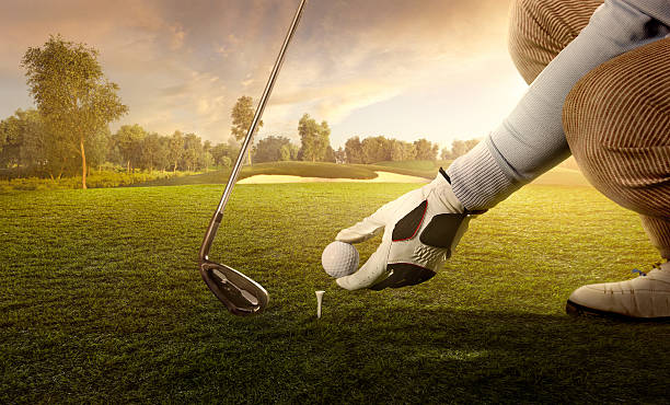 golf: preparing for strike - golf stock photos and pictures
