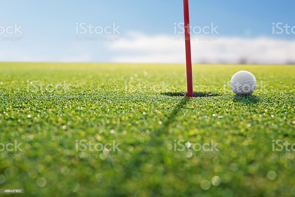 golf red hole stock photo