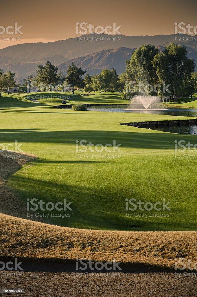 Golf Scenic at Sunset stock photo