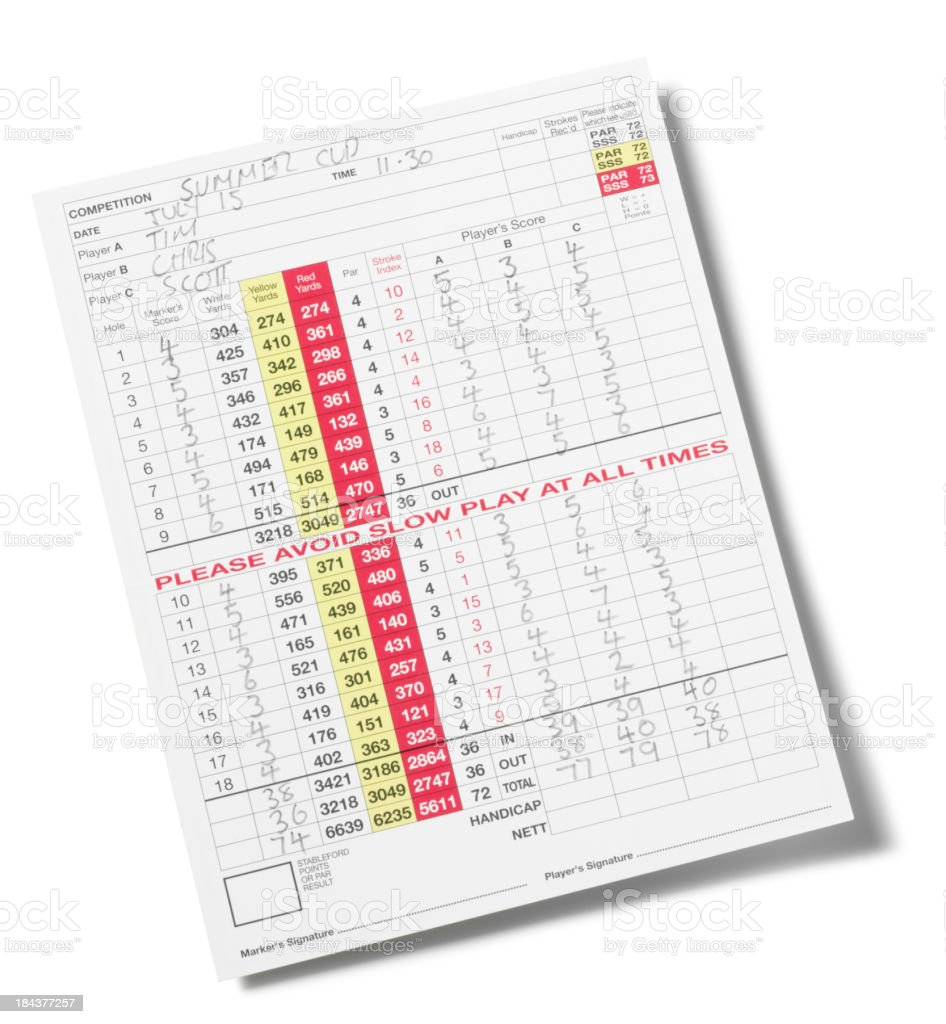 Golf Score Card Isolated stock photo