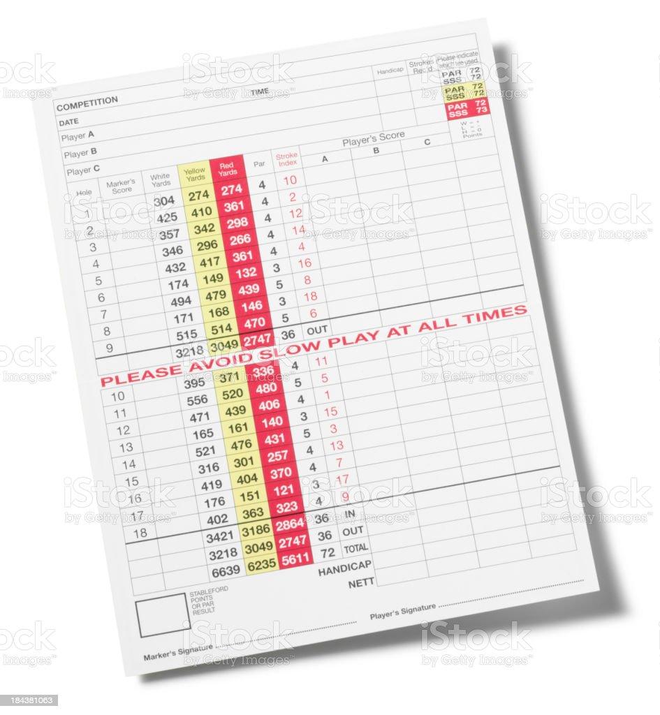 Golf Score Card stock photo