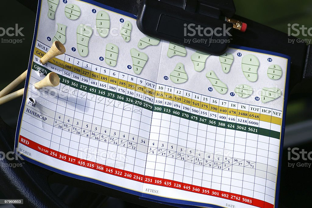 Golf scorecard royalty-free stock photo