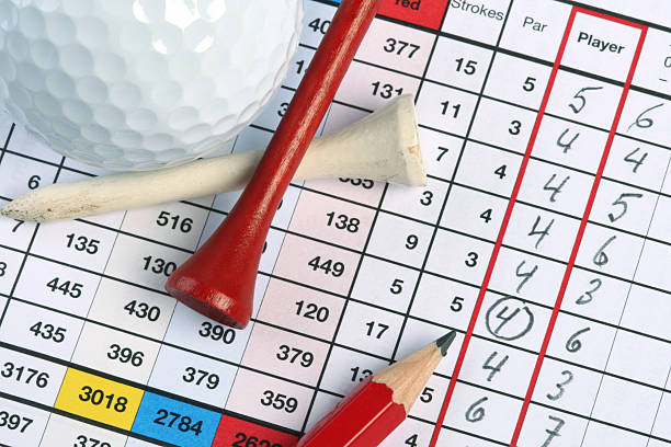 Golf Scorecard with Birdie  scoring stock pictures, royalty-free photos & images