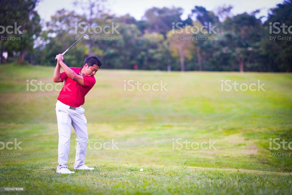 Golf sport concept, golfer swing golf ball on golf course on...