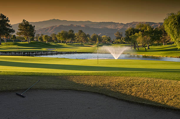 Golf Sunset stock photo