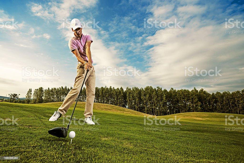 Golf Swing Just Before Impact stock photo