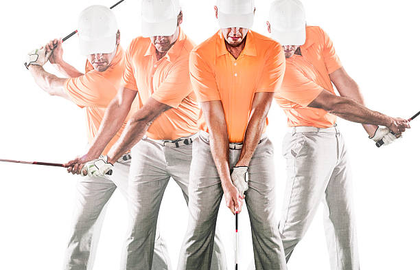 Golf Swing Sequence A golfer at differnet positions of the golf swing. http://blog.michaelsvoboda.com/GolfBanner.jpg sequential series stock pictures, royalty-free photos & images