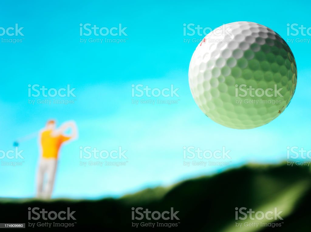 Golf Swing with a White Ball royalty-free stock photo