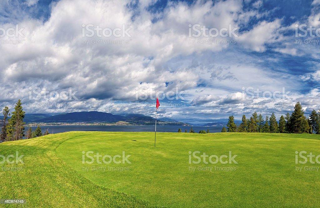 Golf Tee at Kelowna Lakeshore Road Okanagan Valley BC stock photo