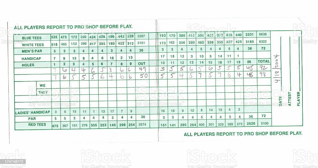 Golf - Used Scorecard stock photo