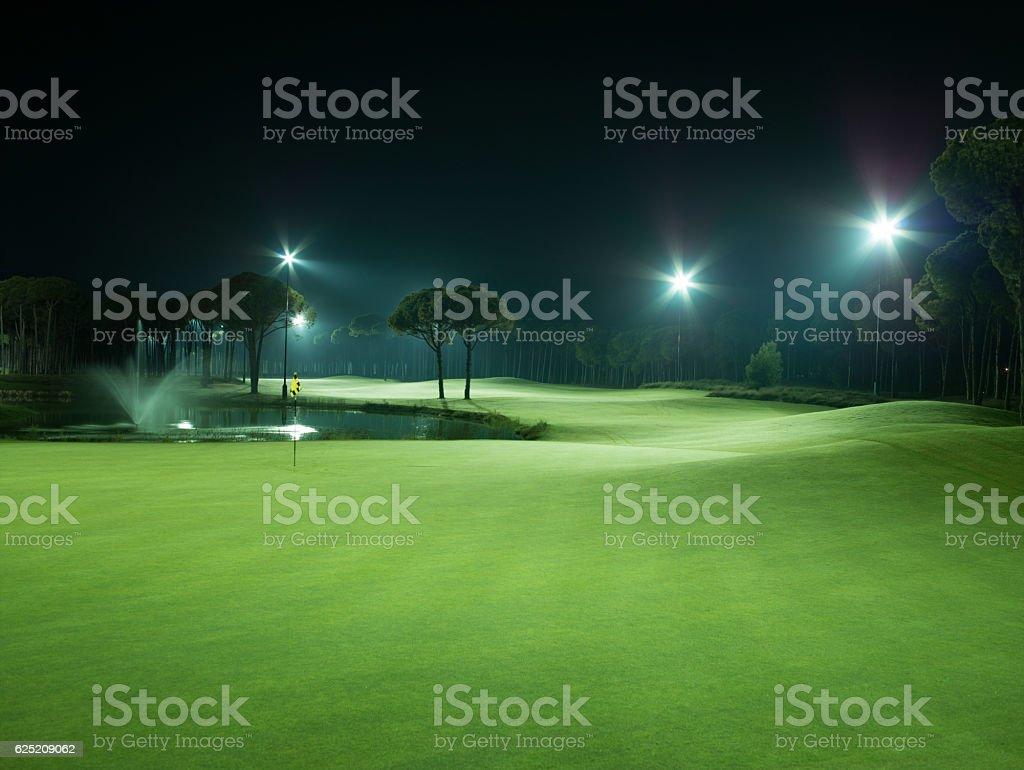 Golf Yard at night stock photo
