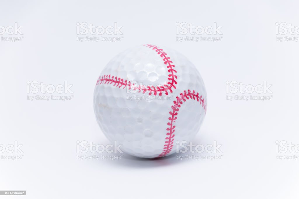 Golfball painted like a baseball ball golf balls stock photo